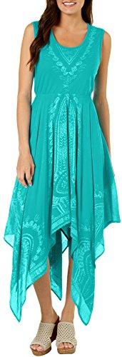 Lola P. Womens Embroidered Handkerchief Hem Sundress X-Large Jade (Embroidered Hem Dress)