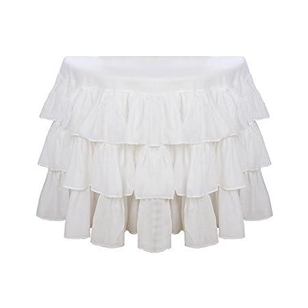Blanc Mariclo Round table cloth Fru fru 180 x 180 cm: Amazon.co.uk ...