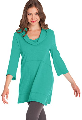 Neon Buddha Women's Loose 3/4 Sleeve Shirt Female Jersey Knit Cotton Tunic with Cowl Collar (M, Turquoise Water) ()