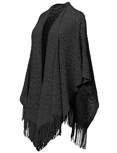Zig Zag Patterned Vintage Poncho Cape Shawl Cardigans Free (S-L) 023-Black