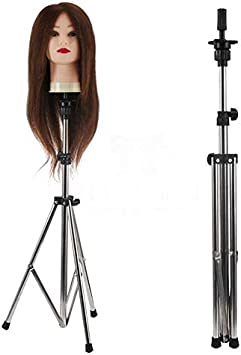 Mannequin Block Head Holder Metal Adjustable Tripod Stand Holder for Hair Salon Cosmetology Hairdressing Training Head with Carry Bag Wig Stand Tripod HOOMBOOM Mannequin Head Stand