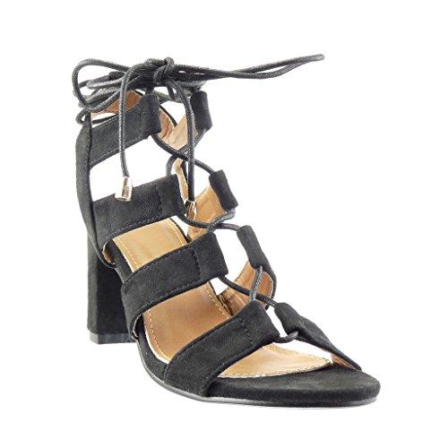 Angkorly - Scarpe da Moda sandali Mules donna tanga multi-briglia merletto Tacco a blocco tacco alto 8 CM - Nero
