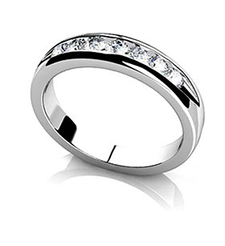 Or blanc 14K Sept diamants canal Mariage Band