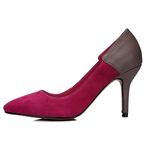 Allhqfashion Dames Dichte Spitse Neus Schapenhuid Spikes Stiletto Pumps Met Tweekleurige Rosered