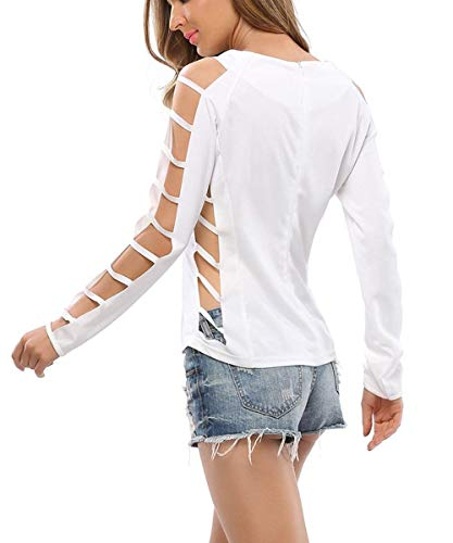 Camiseta Blusa De Blanco Negro Larga Manga Loose Las Hombro Vintage Cuello Redondo Casual Del Tops Básica Otoño Señoras La 6Uw5q5x0