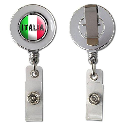 Italia - Italy Italian Flag Retractable Reel Chrome Badge ID Card Holder Clip