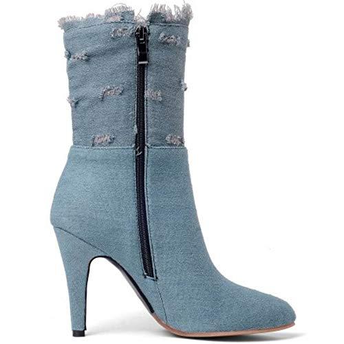 Razamaza Cerniera Donna Stivali Azzurro Alto Tacco r7fR6cr