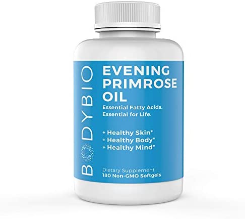BodyBio – Evening Primrose Oil for Healthy Skin, Immune Support Hormone Balance. Non-GMO, Cold Pressed – 1300mg, 180 Softgels