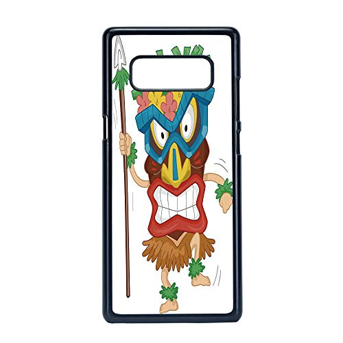 Cell Phone Case Compatible Samsung Galaxy Note 8,Tiki Bar Decor - Hard Plastic Phone Case/Black - Native Man Wearing Mask Illustration Cartoon Tribal Costume Primitive Ritual Decorative ()