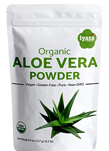 ##Limited Offer## Premium Organic Aloe Vera Leaf Powder, Aloe Barbadensis - USDA Organic Herbal Cosmetics, Natural Hair & Skincare, Moisturizer, Ayurvedic Superfood,Resealable Pouch Value Pack (8oz) (Green Vera Aloe Plant)