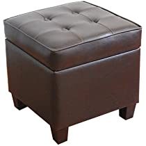 Kinfine USA Inc. HomePop Leatherette Tufted Square Storage Ottoman With  Hinged Lid, Brown ...