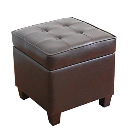 Amazon homepop leatherette tufted square storage ottoman with homepop leatherette tufted square storage ottoman with hinged lid brown solutioingenieria Images