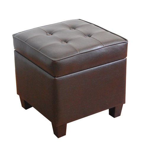 HomePop Leatherette Tufted Square Storage Ottoman with Hinged Lid, Brown