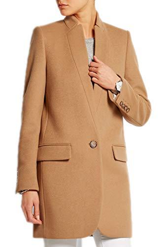 Latest Yeharis Women's Wool Blend Coat Lapel Long Sleeve Blazer Jacket Slim Fit Overcoat Camel XL Camel Wool Blazer 10