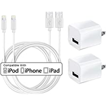 USB Wall Charger, Certified Tricon 5W 1A USB Portable Power Adapter with 6 FT / 2 Meter Lightning to USB Charging Cable - iPhone iPad Samsung iOS10 (2 Pack) White