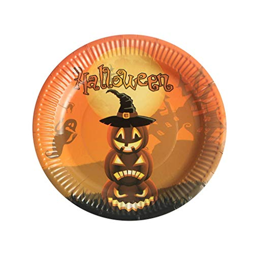 MuLuo 10PCS Multi Patterns Colorful Halloween Theme Round Disposable 17.5cm Diameter Paper Plate -