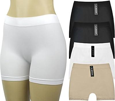 Women's Seamless Boyshorts Underwear Panties Underskirt Shorts (Value Pack of 4 Assorted Colors - 2 Blacks, 1 White, 1 Beige)