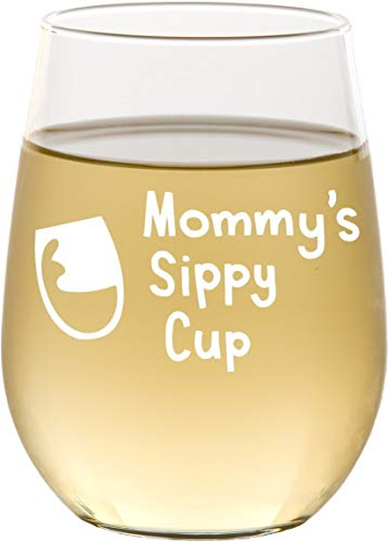 Mommys Sippy Cup Stemless Wine Glass, New Mom Gift, Mothers Day Gifts - SG15