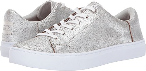 TOMS Women's Lenox Sneaker Silver Metallic Leather 9 B ()