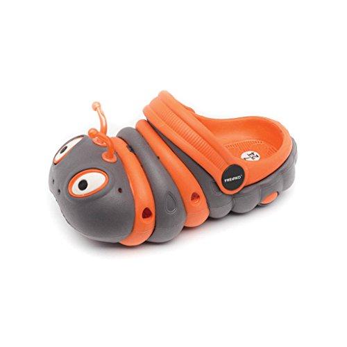 Image of Fresko Toddler Kids Caterpillar Clogs, T1047, Orange/Grey, 6 M US Toddler