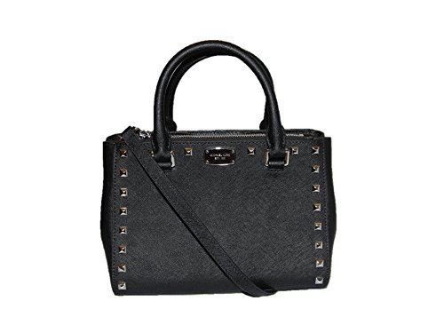 Michael Kors Kellen Studded Extra Small Leather Satchel - Black/Silver