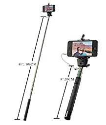 SELFIE STICK BEST Monopod, Sticks Work with iPhone 6 6Plus 5 5s 5c 4 Samsung 6 5 4 4s GoPro & Digital Cameras. No Bluetooth, Battery Free, Easy. Has a Cable So Just Connect, Click and Capture, Now!