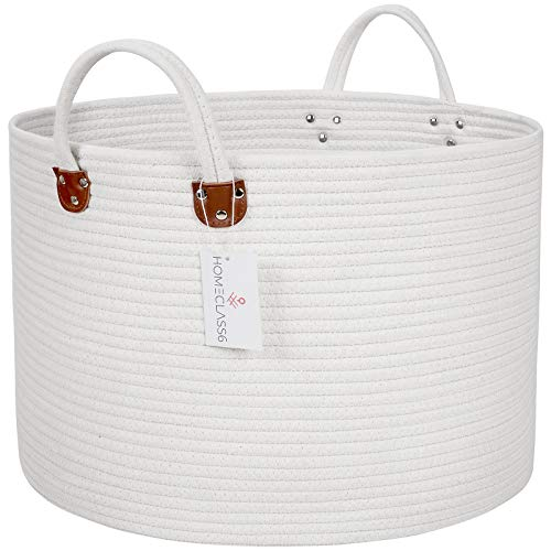 XXL Woven Laundry Basket - 20 x 20 x 13.3 inch Cotton Rope Basket. Woven Storage Basket for Blankets, Toys, Throws, and Pillows. Rope Laundry Basket and Storage Basket with Handles. Off White. (Handle White Large With Basket Wicker)