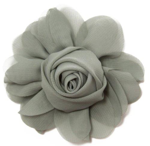 Crafts Rosette - Gray Chiffon Rosette Hair Clip - 4