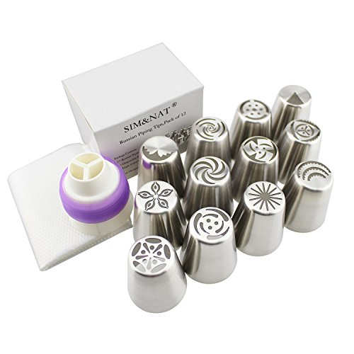 SIM&NAT Russian Piping Tips Nuzzle - 12 PCS Cake Flower Decorative Tips, with Triple Coupler and 10 Disposable Pastry Icing Bag