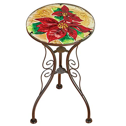 Festive Holiday Poinsettia Glass Accent Table with Scroll Design- Seasonal Indoor/Outdoor ()