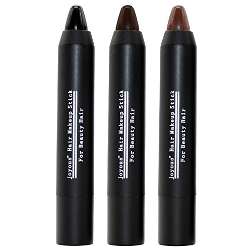 Possiave Hair Lipstick-Non-Toxic Temporary Hair Dye Color-No Mess-Last up to 2 Days- Works on All Hair Color and Cover White Hair Color Patch-(Black-Dark Brown-Coffee) (3 colors) (Hair Color Stick compare prices)