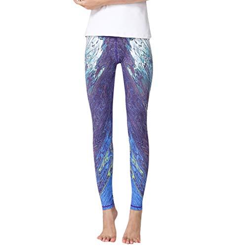 - TANLANG Women Fashion Printed High-Waist Hip Stretch Running Fitness Yoga Pants Audrey Crop Slim Leg Pant Elastic Trousers Purple