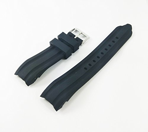 22mm Waterproof Black Silicone Rubber Curved End Dive Watch Band Strap (Silicon Dive Strap)
