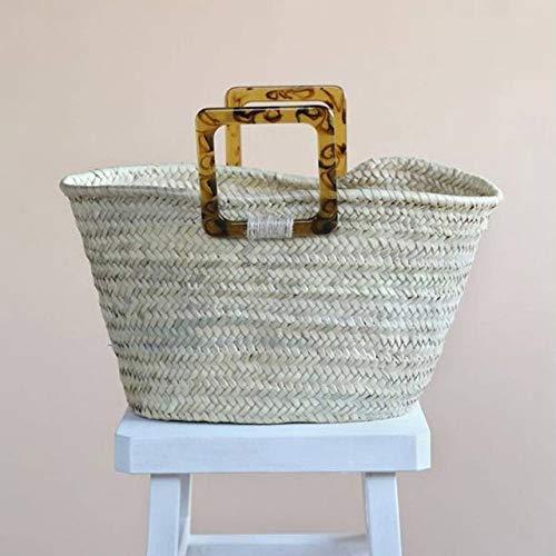 2019 Straw Bags Summer Moroccan Palm Basket Bag Women Handmade Natural Oval Beach Bag Big Tote Handbag Acrylic Clutch (Khaki)