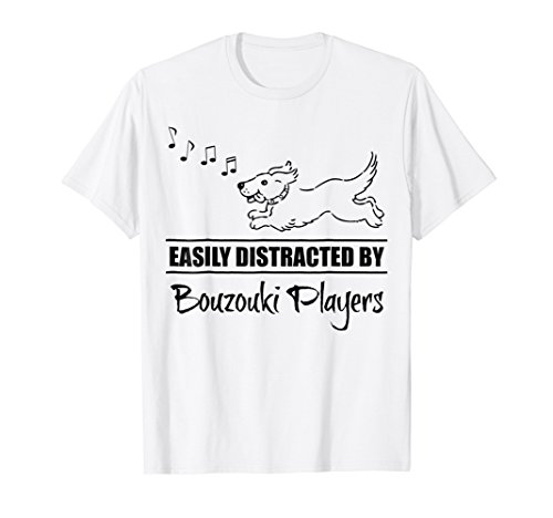 Cute Dog Easily Distracted by Bouzouki Players T-Shirt