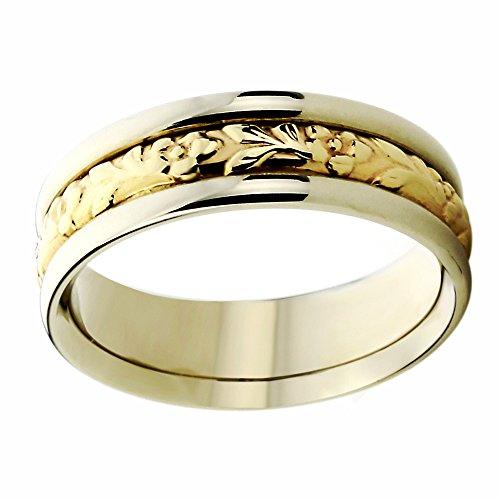 Free Engraving 14K Yellow Gold & Rose Gold Wedding Band Leaves Designed Ring