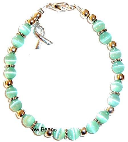 Prepackaged (7 3/4 in.) Cancer Awareness Bracelet TEAL, 6mm (represents Ovarian Cancer) (Month Cervical Cancer Awareness)
