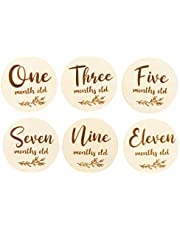 Kisangel 6pcs Baby Monthly Milestone Cards Wooden Baby Age Sign Markers Newborn Photo Cards Birth Announcement Card for First Year Growth Photography Supplies