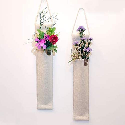 Amazon Com 2 Pack 12 5 H Fabric Hanging Wall Vases Flower Wall Decor For Living Room Bedroom Office And More Linen Kitchen Dining