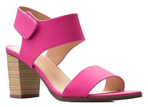 OLIVIA K Women's Peep Toe Sandal - Low Stacked Heel (Pink Womens Sandals)