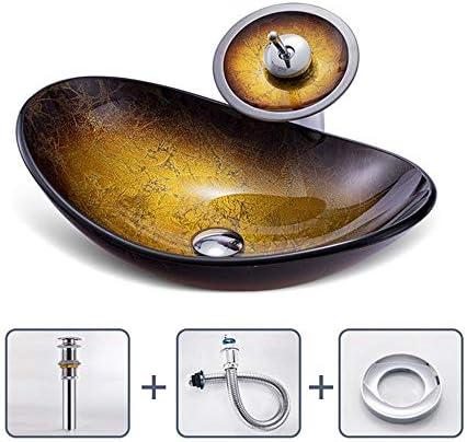 洗面化粧台シンク カウンターシンクオーバル強化ガラス容器シンククローム蛇口コンボ、ポップアップシンクの排水の上バスルーム 和風 洋風 お洒落な 節水 節約 (Color : B, Size : 54x36x16cm)
