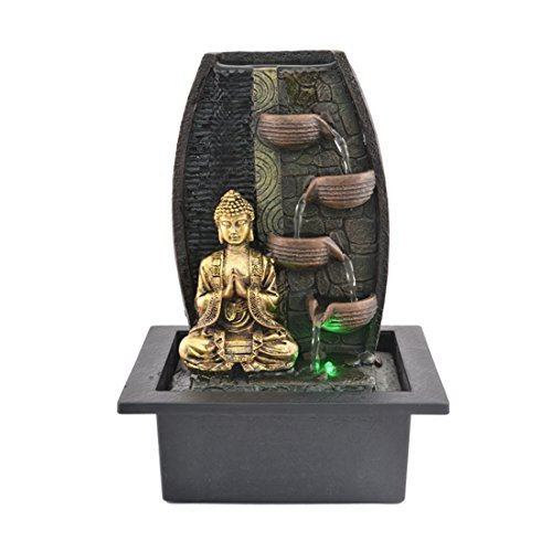 Fasherati Beautiful and Incredible Indoor Table Top Lord Buddha Statue Water Fountain Showpiece for Interior Decore of Entrance with Led Light for Home Decor and Motor Pump Marble Tabletop Fountains