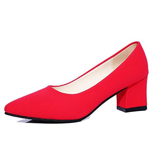 KHSKX-Zapatos De Tacon Grueso Suede Afilados Tacones Zapatos De Tacon Superficialmente La Dama De Honor De Matrimonio De Gules Treinta Y Siete Thirty-eight