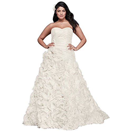 Davids Bridal Rosette Skirt Plus Size Wedding Dress Style 9OP1304 - Rosette Wedding Dress