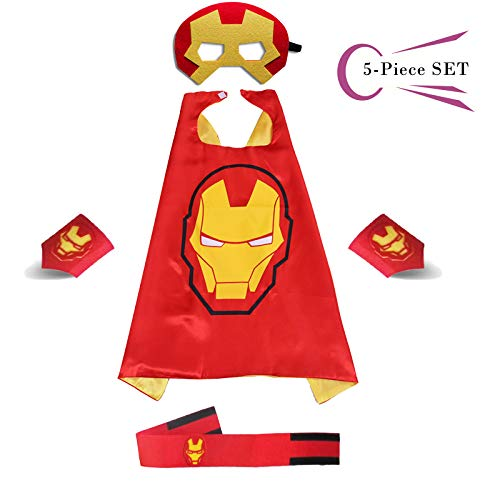 Superhero Dress Capes Set for Kids - Child DIY Superhero Themed Birthday Halloween Party Dress up 5-Pack Set (Iron Man) -
