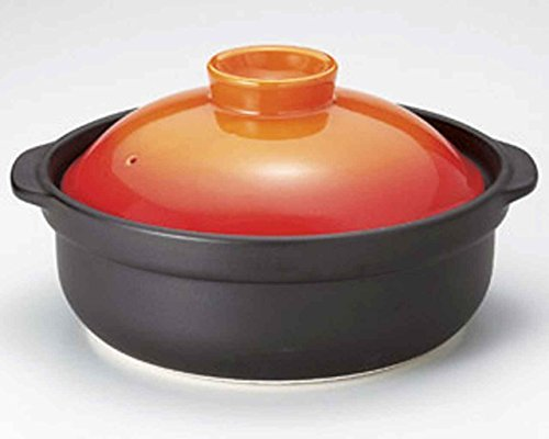 Utage for 3-4 persons 10.1inch Donabe Japanese Hot pot Orange Ceramic Made in Japan by Watou.asia