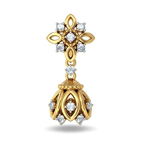 18K Or jaune 0,46CT TW White-diamond (IJ | SI) Pendants d'oreilles