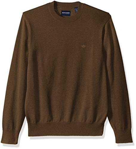 Brown Heather Sweater - Dockers Men's Cotton Crewneck Long Sleeve Sweater, Tobacco Heather, Large