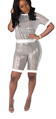 Vamvie Women Sexy 2 Piece Sequin Club Wear Outfits Sparkle Ribbed Stripped Short Pullover and Pants Set White L