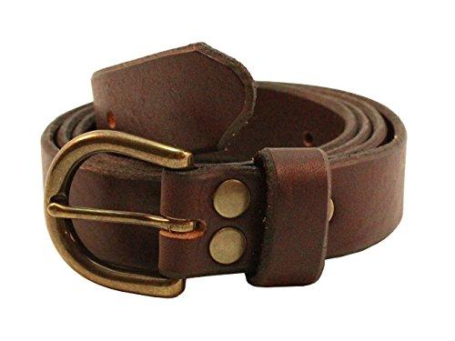 Jade Black Full Natural Grain Leather Designer Belt 1 inch (26mm) Wide With Oval Antique Brass Buckle